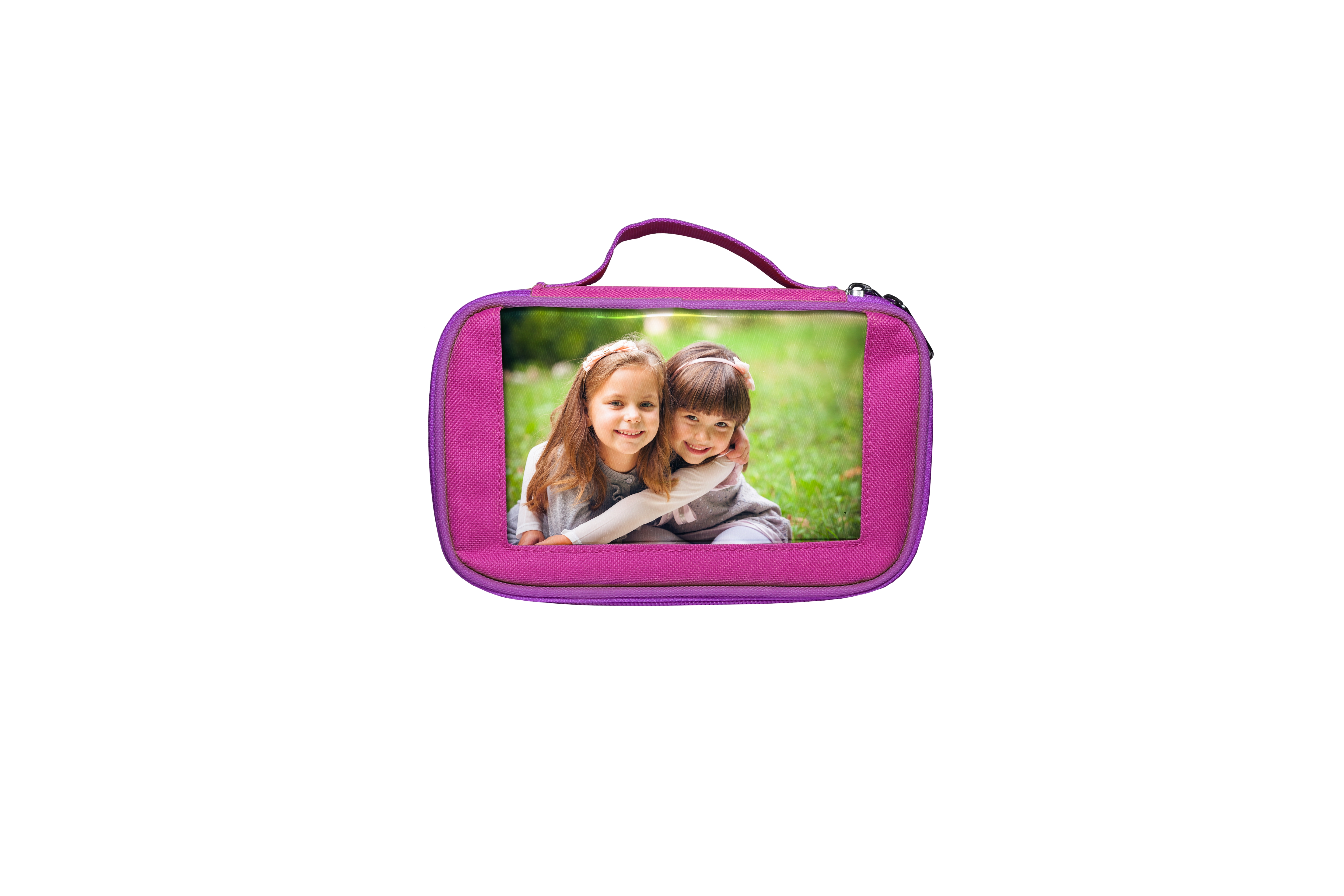 Pink School Pencil Case - Holds Photo